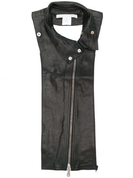 Черная кожаная куртка Veronica Beard