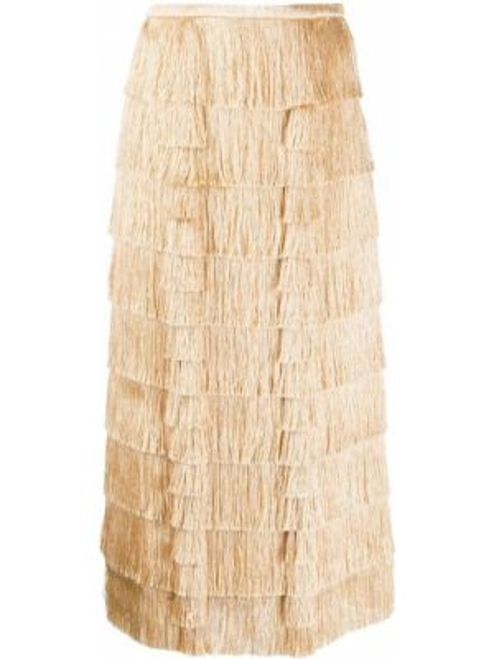 С завышенной талией юбка миди с бахромой каскадная в рубчик Marco De Vincenzo