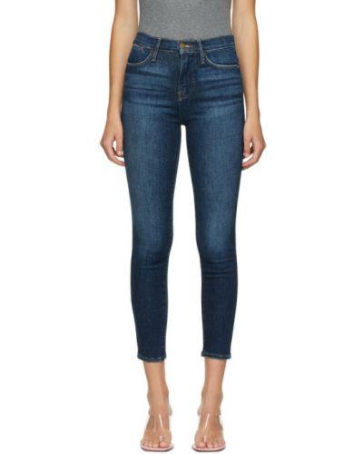 Зауженные укороченные джинсы с вышивкой стрейч с манжетами Frame