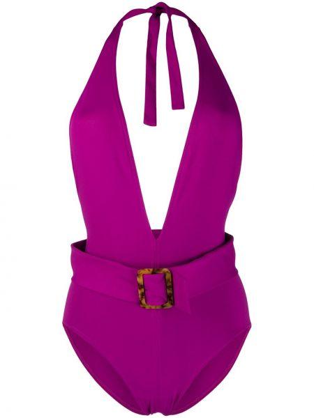 Фиолетовый купальник с открытой спиной эластичный Eres