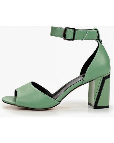 Босоножки на каблуке зеленый кожаные Rio Fiore