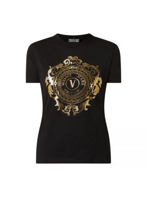 Czarny koszula jeansowa bawełniany Versace Jeans Couture