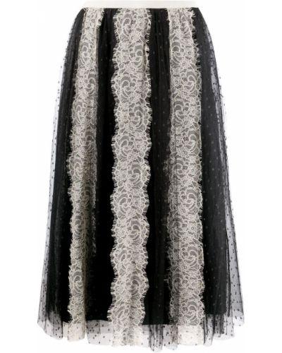 С завышенной талией черная юбка твидовая Red Valentino