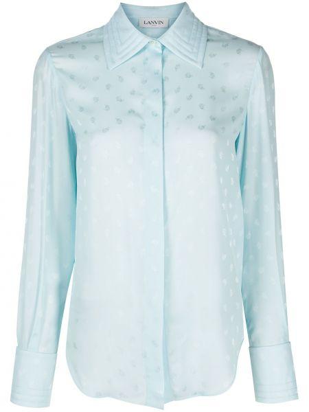 Шелковая синяя рубашка с воротником Lanvin