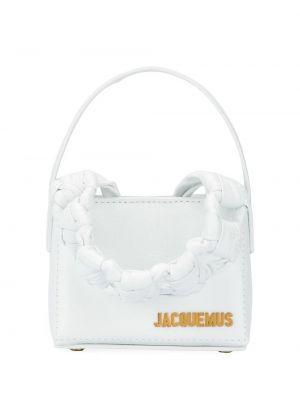 Плетеная белая кожаная маленькая сумка Jacquemus