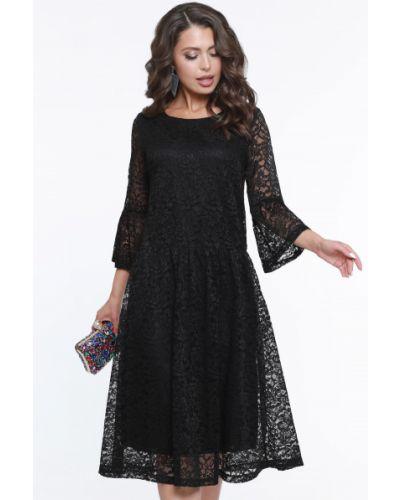 Свободное кружевное с рукавами вечернее платье Dstrend
