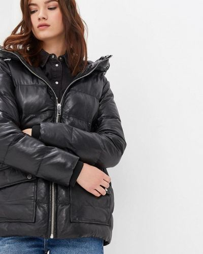 Зимняя куртка кожаная черная La Reine Blanche
