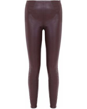 Кожаные повседневные бордовые брюки на молнии Hugo Boss