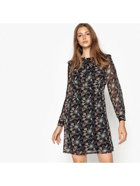 Черное расклешенное платье мини с рисунком с вырезом See U Soon