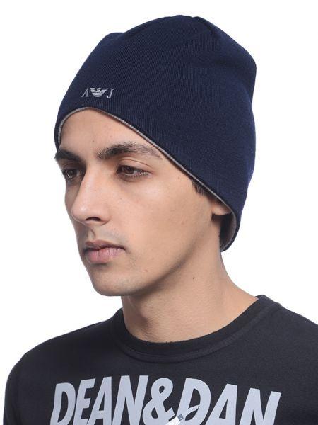 Синяя акриловая шапка Armani Jeans
