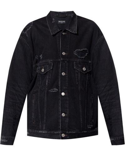 Czarne jeansy zapinane na guziki Balenciaga