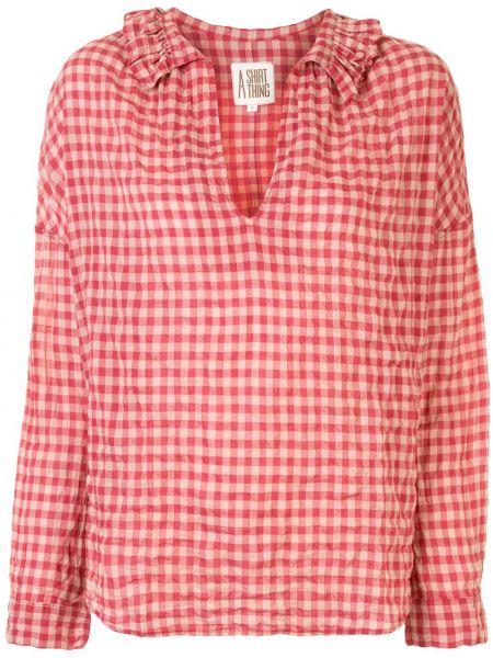 Хлопковая красная рубашка с V-образным вырезом с оборками A Shirt Thing