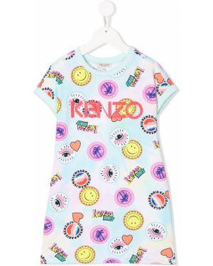 Prążkowana niebieska sukienka mini krótki rękaw Kenzo Kids
