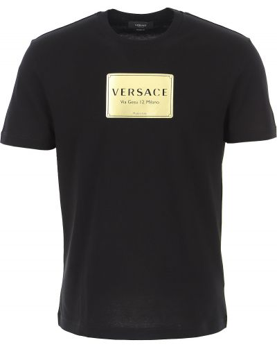 Bawełna bawełna z rękawami czarny t-shirt Versace