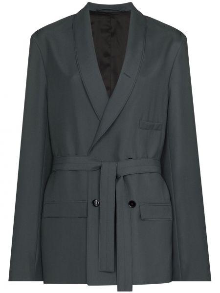 Серый пиджак двубортный с поясом Lemaire