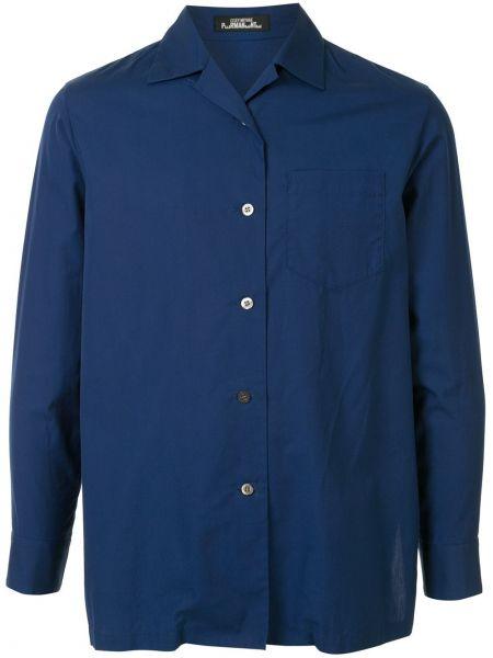 Синяя прямая рубашка на пуговицах с карманами Issey Miyake Pre-owned