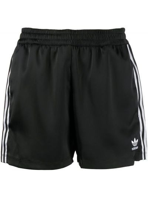 Шорты в полоску - черные Adidas