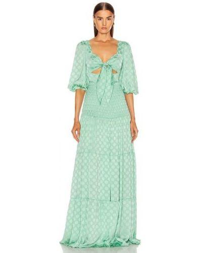 Платье макси атласное - синее Patbo