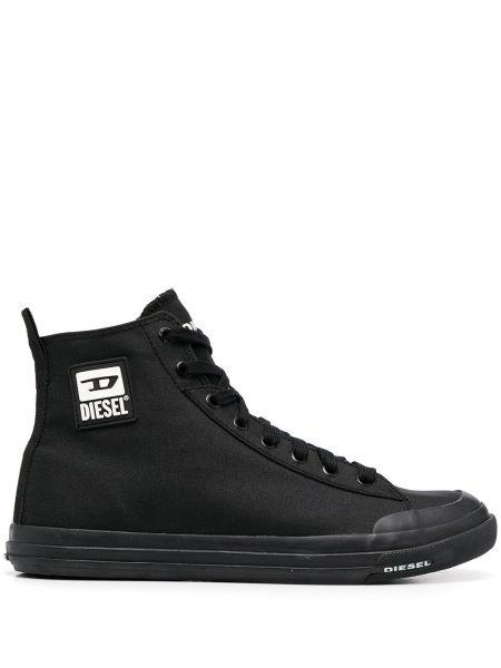 Высокие кеды на шнуровке - черные Diesel