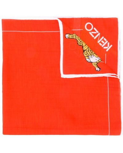 Шарф шелковый с логотипом Kenzo