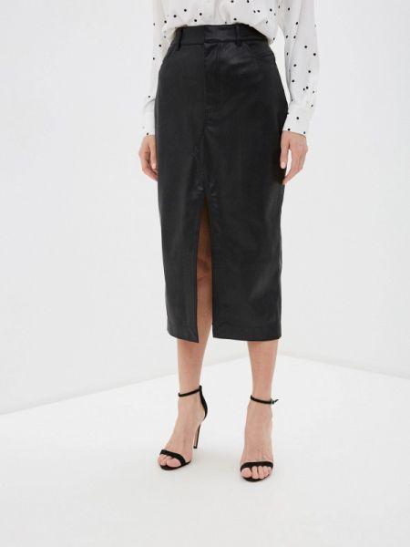 Кожаная юбка черная салатовый Lime