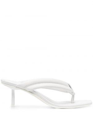 Кожаные открытые белые слипы Le Silla
