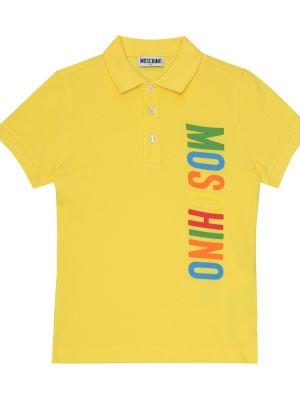 Żółte polo bawełniane Moschino Kids