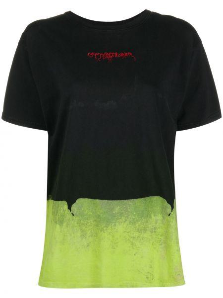 Прямая черная футболка с вышивкой с круглым вырезом Ottolinger