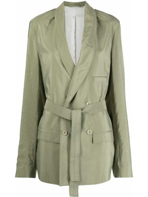 Шелковый удлиненный пиджак двубортный с карманами Lemaire