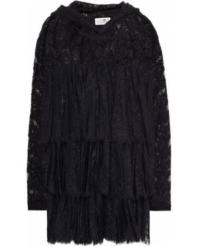 Czarny top koronkowy bawełniany Mm6 Maison Margiela