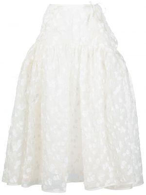 Biały rozbłysnął spódnica midi z kieszeniami z haftem Cecilie Bahnsen