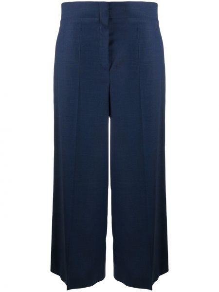 Тонкие синие шерстяные плиссированные укороченные брюки Odeeh