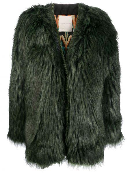 Черное длинное пальто из искусственного меха Marco De Vincenzo