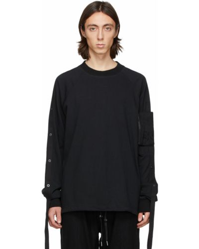 Czarny t-shirt bawełniany z długimi rękawami Blackmerle