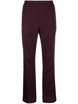 Fioletowe spodnie z haftem Needles