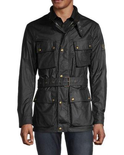 Czarny długi płaszcz bawełniany z długimi rękawami Belstaff
