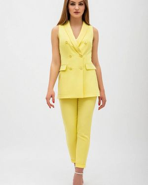 Облегающий костюмный желтый брючный костюм Itelle