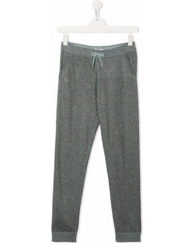С кулиской синие кашемировые брюки с завязками Lanvin Enfant