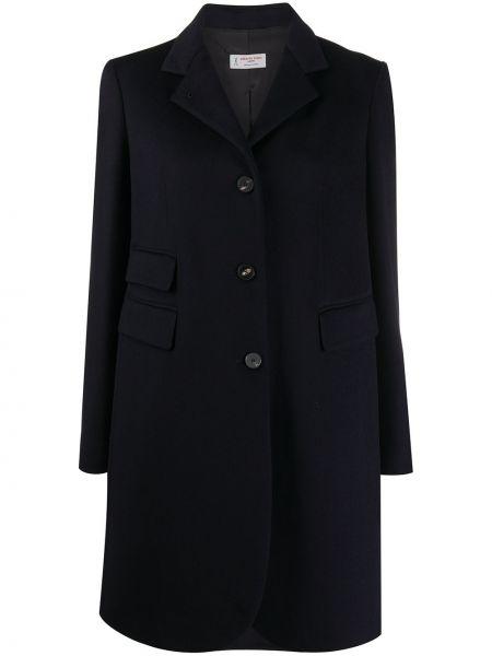 Синее длинное пальто с воротником с карманами Alberto Biani