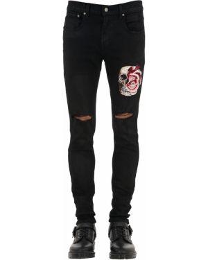 Czarne jeansy z haftem srebrne Domrebel