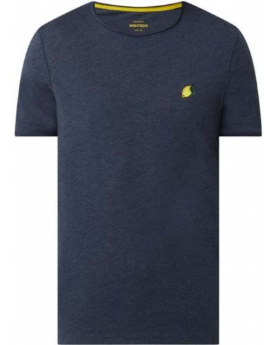 Niebieski t-shirt bawełniany z haftem Montego