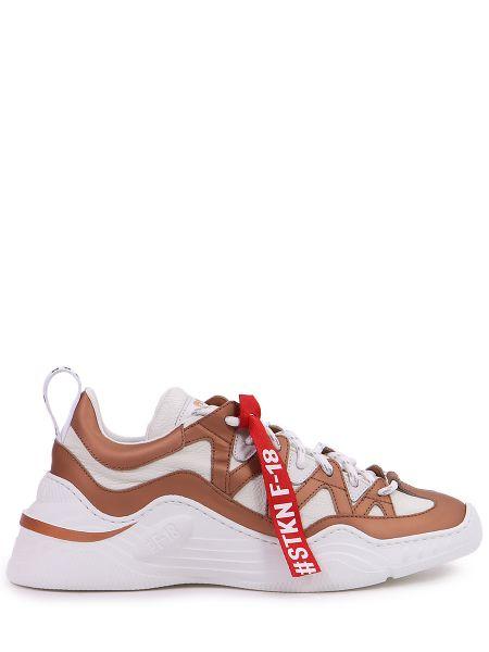 Кожаные коричневые кроссовки на шнуровке Stokton