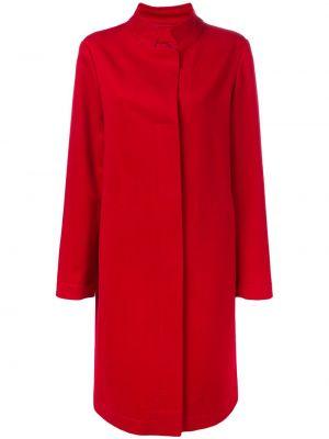 Красное шерстяное длинное пальто с воротником Liska