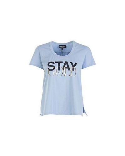 Голубая хлопковая футболка с надписями Emporio Armani
