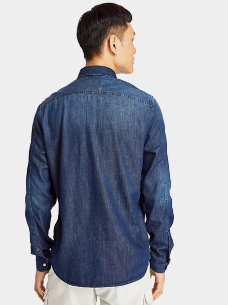 Синяя джинсовая рубашка с длинными рукавами круглая Timberland