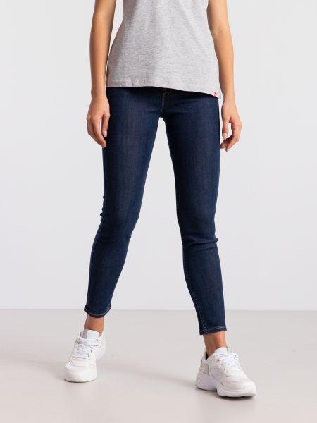 Синие джинсы-скинни с высокой посадкой Lee