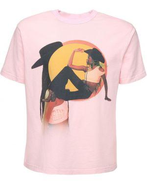 Różowy t-shirt bawełniany Telfar