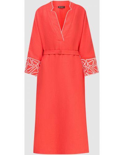 Льняное платье мини - красное Loro Piana