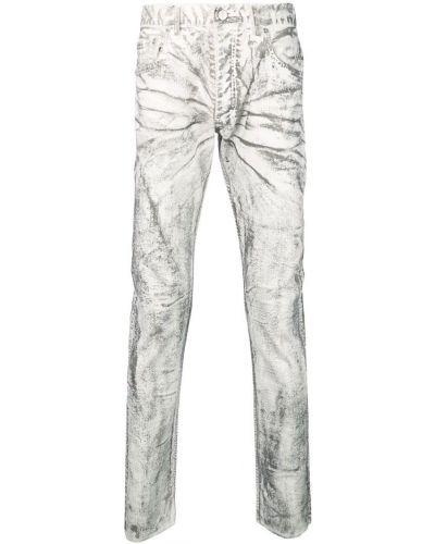 Белые зауженные джинсы-скинни на пуговицах из микрофибры Fagassent