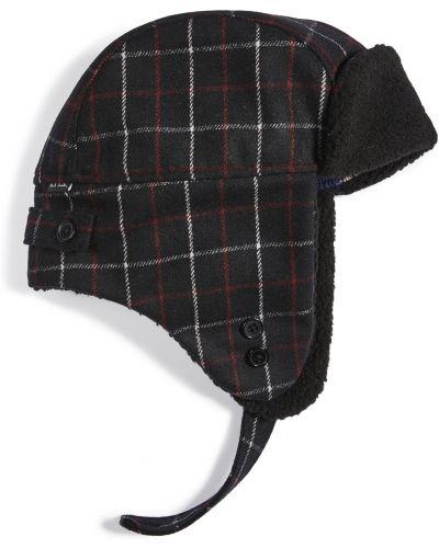 Czarny kapelusz wełniany w kratę Ps Paul Smith